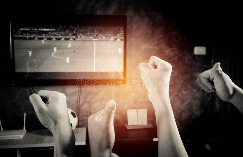 Os fan de futebol gostam ao elogio na equipe imagem de stock royalty free