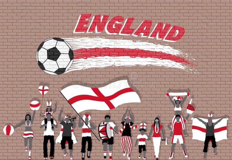 Os fan de futebol ingleses que cheering com Inglaterra embandeiram cores na parte dianteira ilustração do vetor
