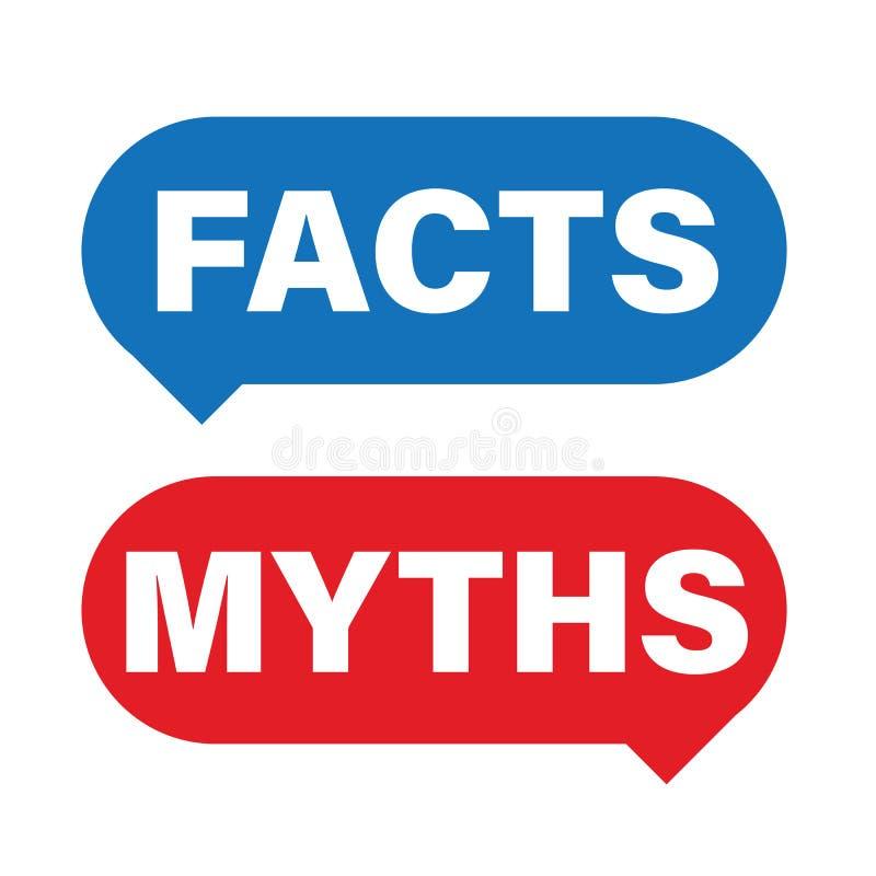 Os fatos dos mitos assinam o vetor do botão ilustração do vetor