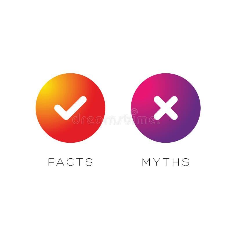Os fatos dos mitos assinam o vetor do bot?o ilustração royalty free