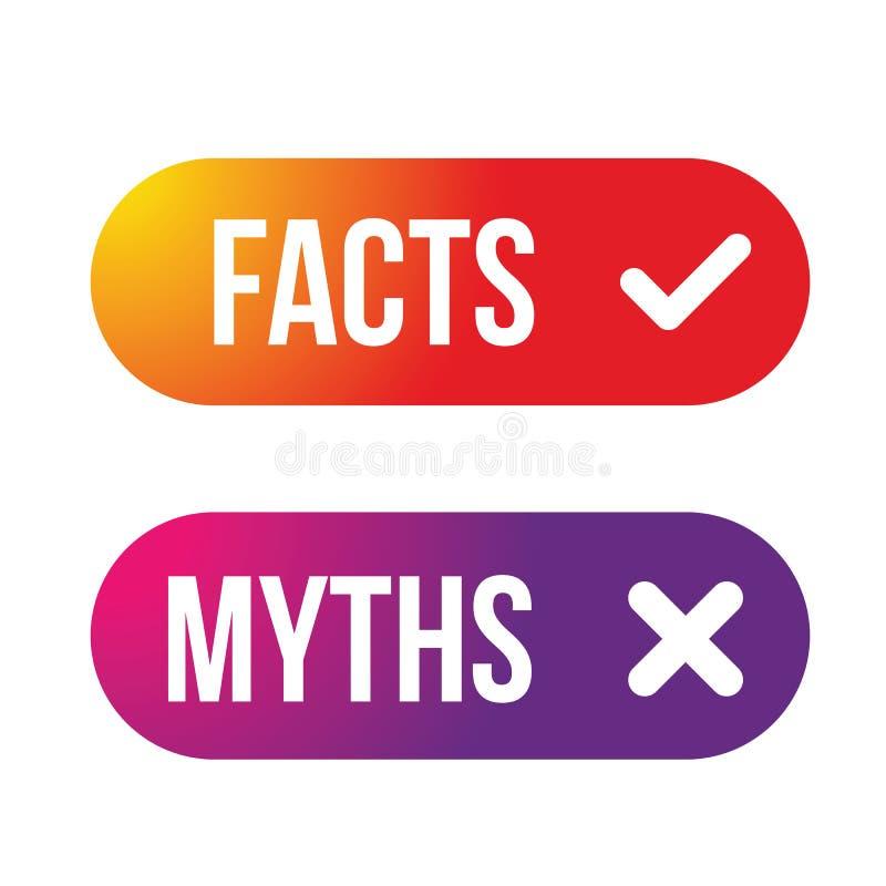 Os fatos dos mitos assinam o vetor do bot?o ilustração do vetor