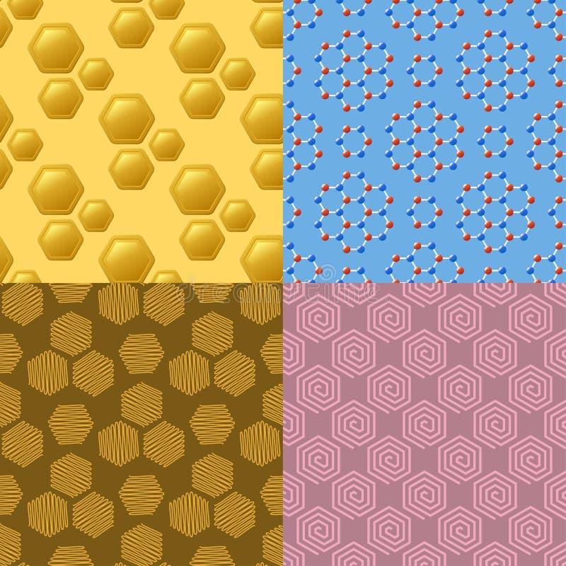 Os favos de mel geométricos dos elementos do projeto do hexágono abstraem o fundo sem emenda do teste padrão das tecnologias mode ilustração do vetor