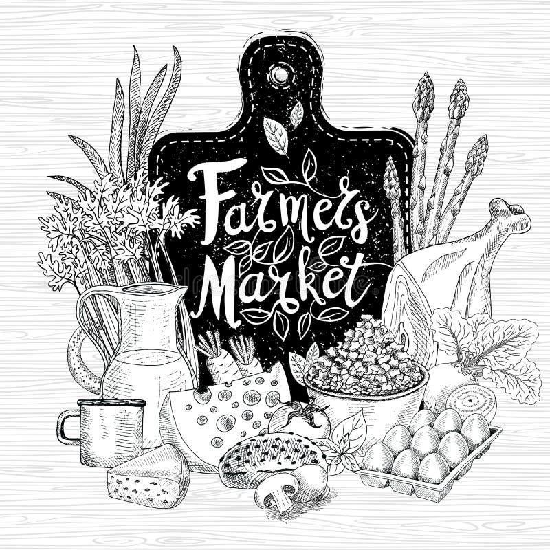 Os fazendeiros introduzem no mercado, projeto orgânico do logotipo, loja de alimento saudável Grupo do alimento biológico Boa nut ilustração royalty free