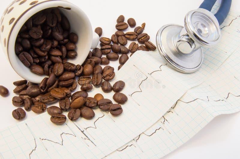 Os feijões de café derramaram c e dispersaram-no no papel ECG perto do estetoscópio médico Efeito do café e da cafeína em s cardi fotos de stock royalty free