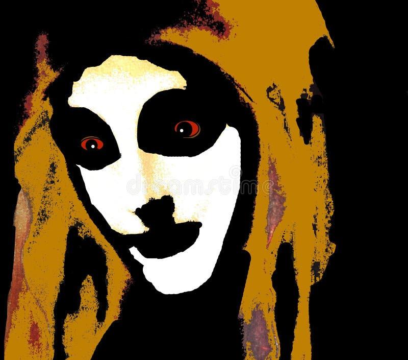 Os feixes da lua pintaram sua cara em um fulgor assustador ilustração do vetor