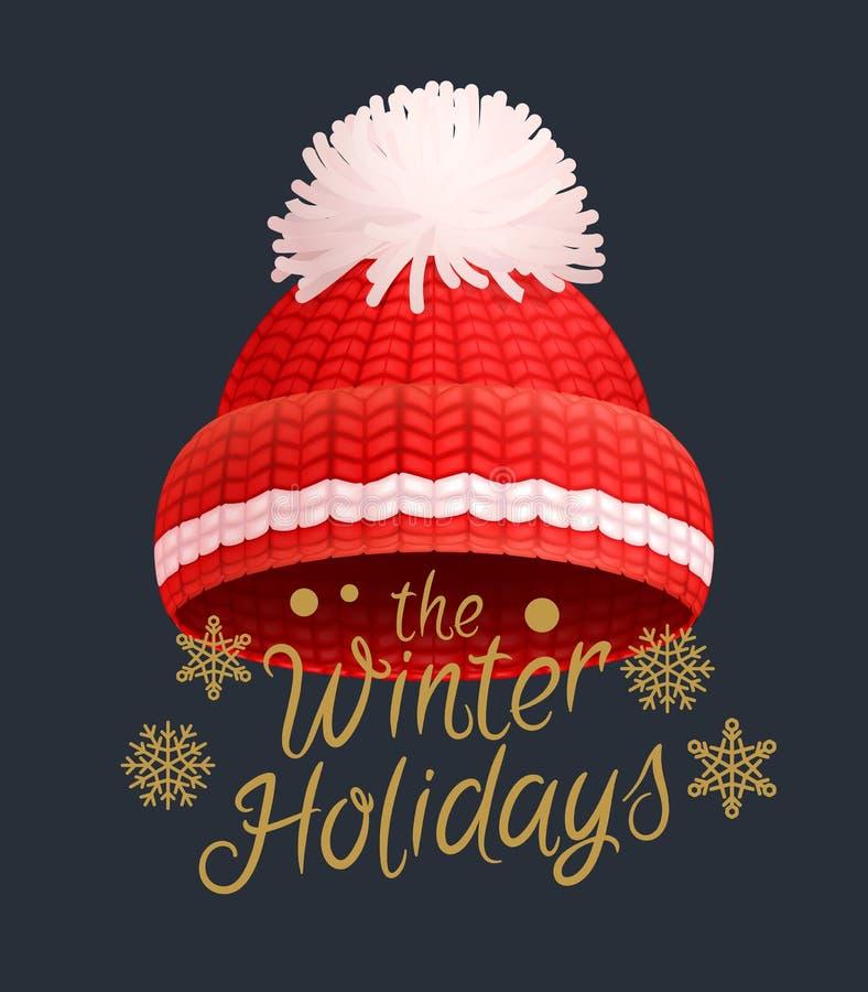 Os feriados de inverno fizeram malha o chapéu vermelho com pom-pom branco ilustração stock