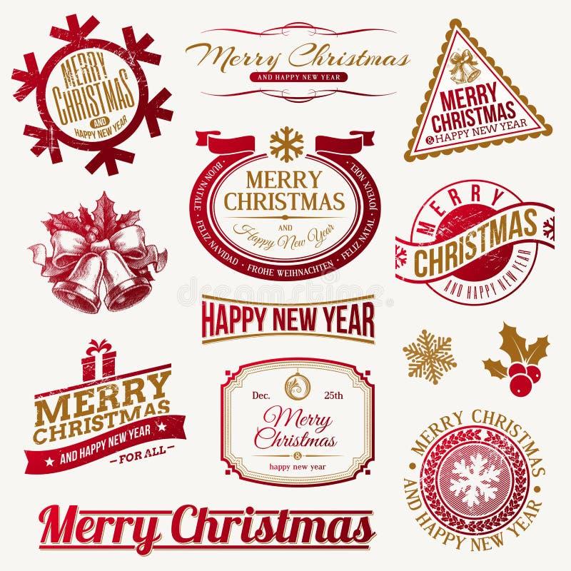 Os feriados do Natal simbolizam e etiquetas ilustração do vetor