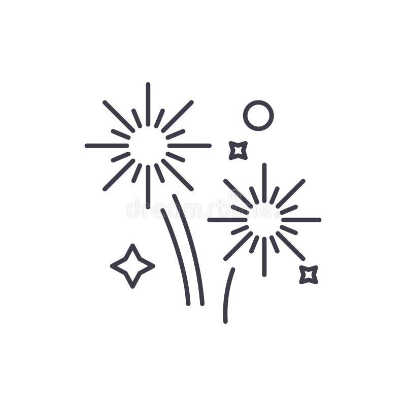 Os feriados dos fogos de artifício alinham o conceito do ícone Ilustração linear do vetor dos feriados dos fogos de artifício, sí ilustração royalty free