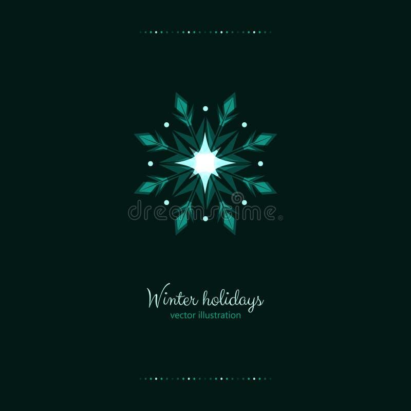 Os feriados verdes do brilho congelam a bandeira dos flocos de neve da geada ilustração royalty free