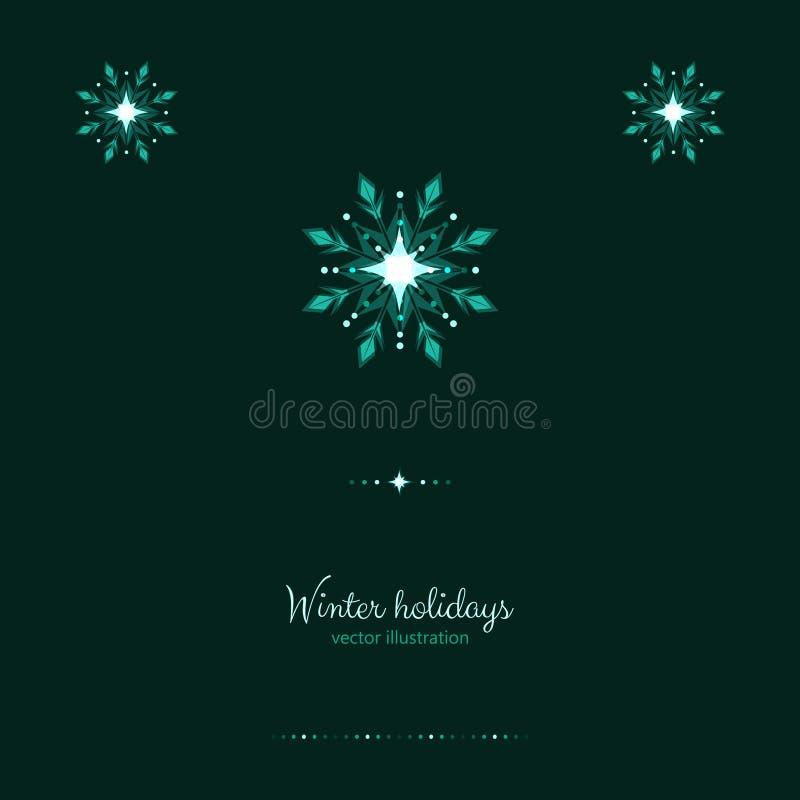 Os feriados verdes do brilho congelam a bandeira dos flocos de neve da geada ilustração stock