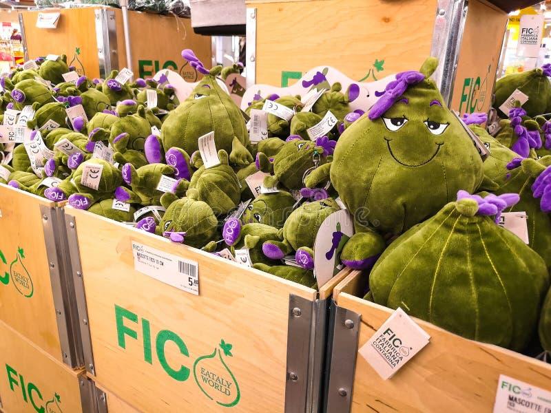 Os figos encheram o mundo de Fico Eataly dos brinquedos - Bolonha - Itália imagens de stock royalty free