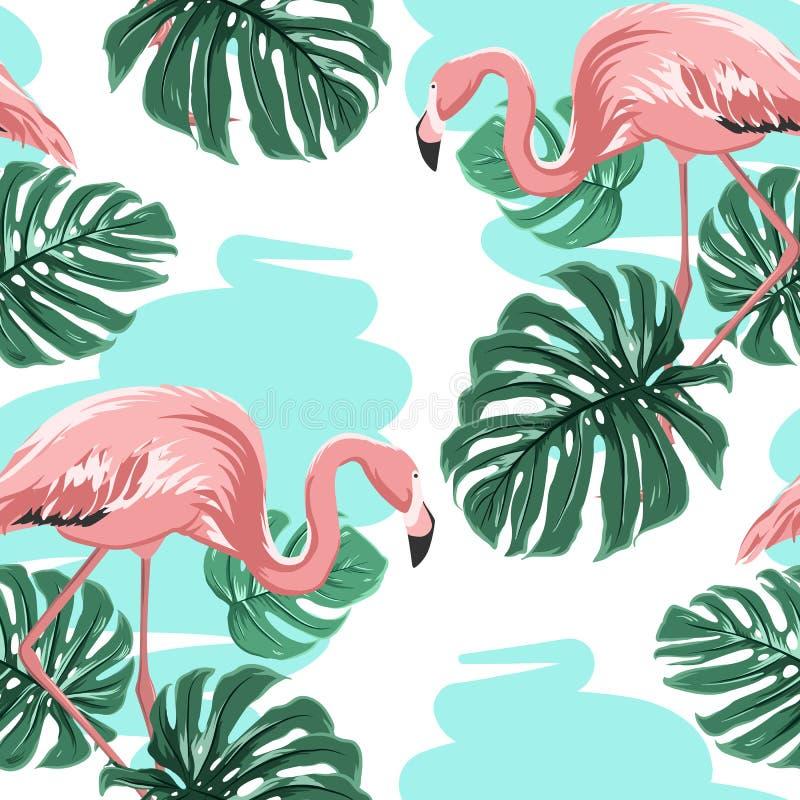 Os flamingos cor-de-rosa, lago azul, monstera saem do teste padrão ilustração do vetor