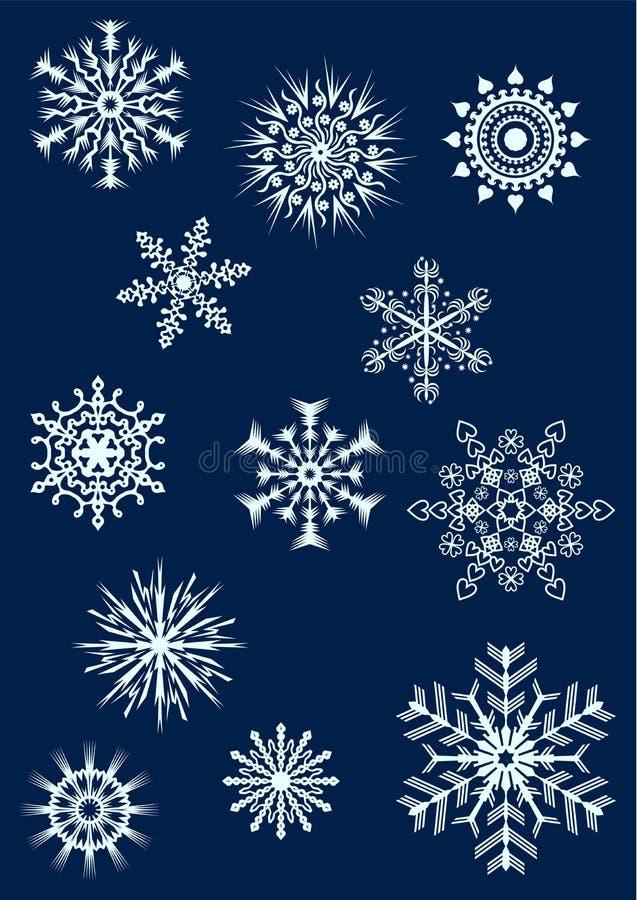 Os flocos de neve ajustaram 2 ilustração stock