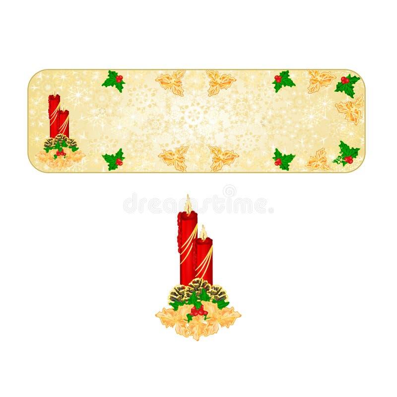 Os flocos de neve da decoração do Natal da bandeira com os cones vermelhos do castiçal e do pinho e o vintage do azevinho do ouro ilustração stock