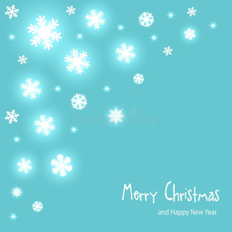 Os flocos de neve do papel do vetor do cartão do Natal no canto em uma turquesa mint o fundo ilustração royalty free