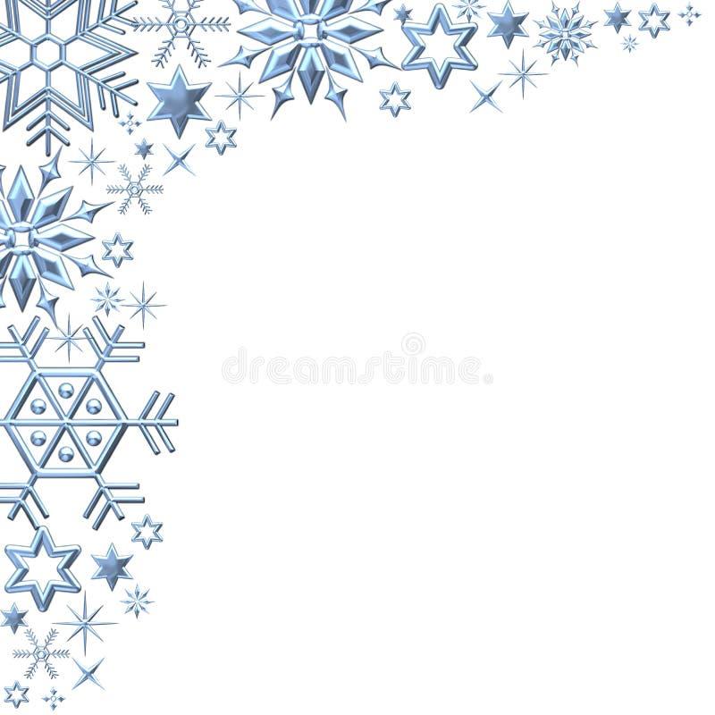 Os flocos de neve limitam no branco ilustração do vetor