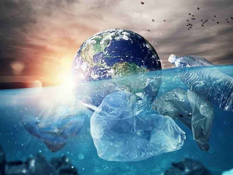 Os flutuadores da terra no mar completamente do plástico Salvar o mundo mundo fornecido pela NASA foto de stock royalty free