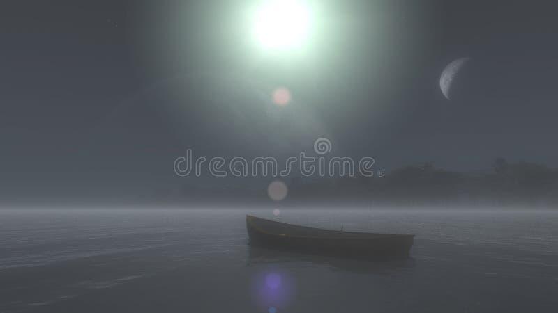 Os flutuadores de madeira do barco na água, 3d ilustração, 3d rendem ilustração royalty free