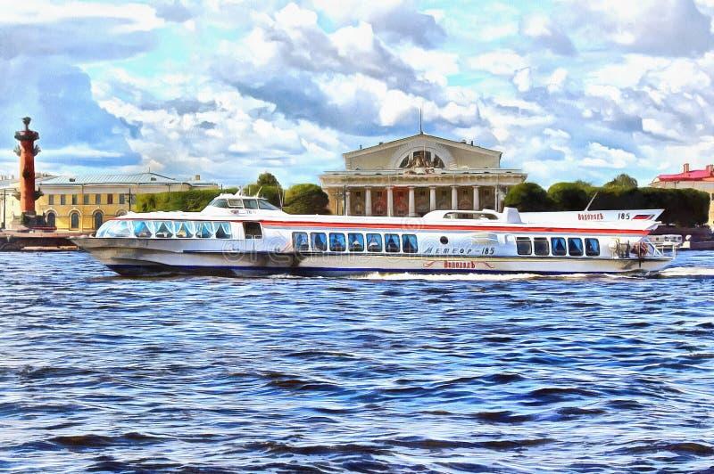 Os flutuadores do meteoro do barco em Neva River ilustração do vetor