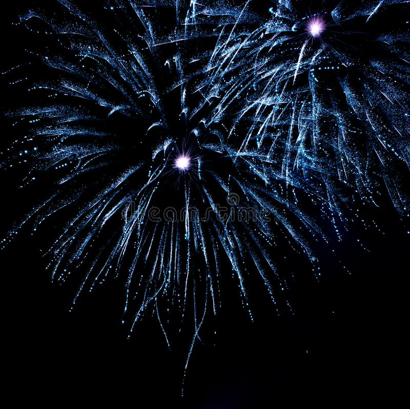 Os fogos-de-artifício bonitos do verde azul gostam de estrelas imagens de stock royalty free