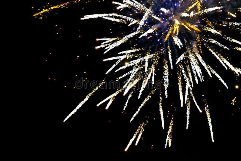 Os fogos-de-artifício explodem no céu em um preto fotografia de stock royalty free