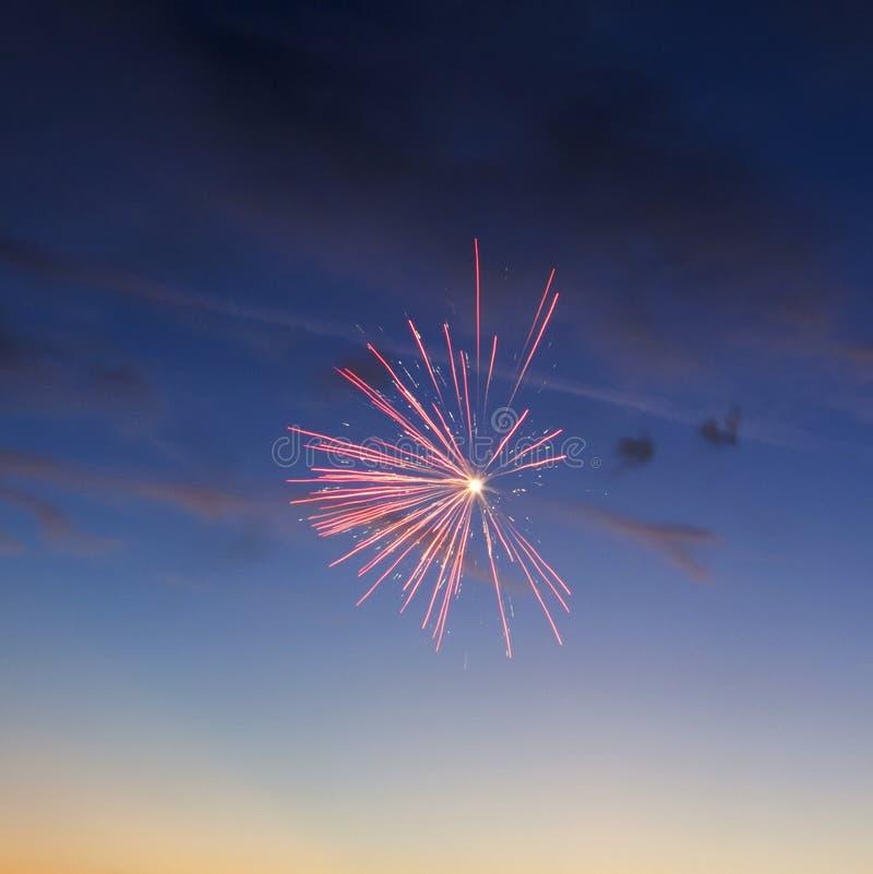 Os fogos-de-artifício iluminam acima o céu com exposição do brilho fotos de stock royalty free