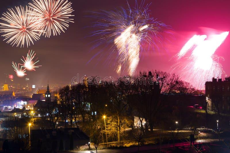Os Fogos-de-artifício Indicam Em Gdansk Fotografia de Stock Royalty Free