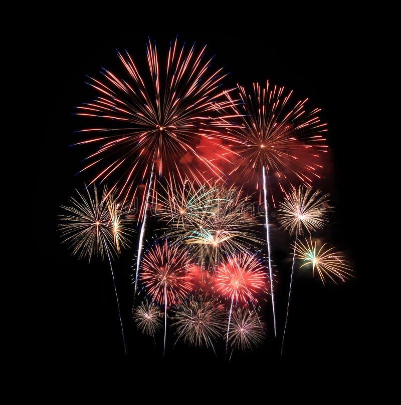 Os fogos-de-artifício indicam na celebração imagem de stock