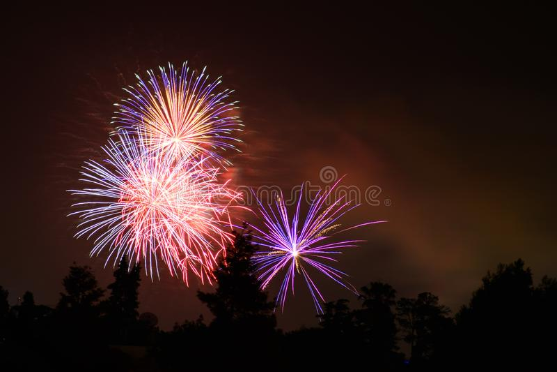 Os fogos-de-artifício indicam no fundo escuro do céu imagens de stock