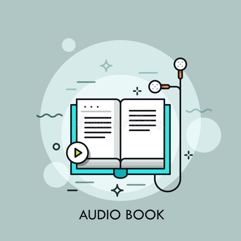 Os fones de ouvido conectaram ao livro de papel e ao botão do jogo ilustração stock