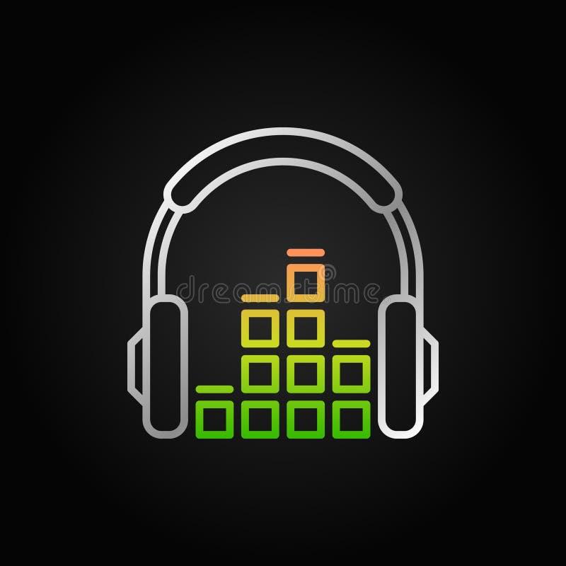 Os fones de ouvido criativos com equalizador sadio vector o ícone linear ilustração do vetor