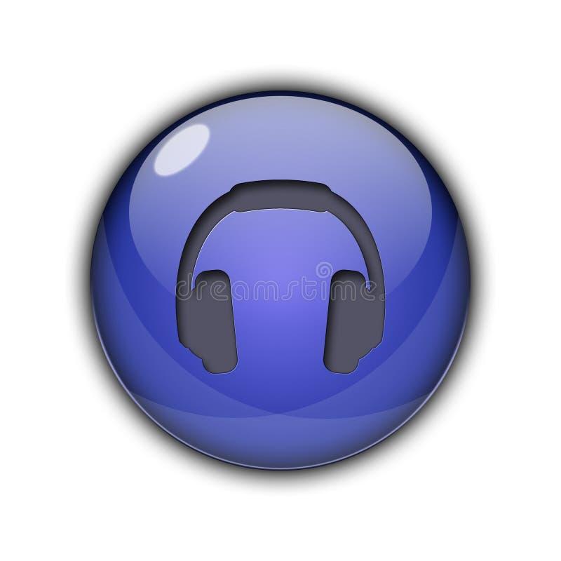 Os fones de ouvido do DJ abotoam a obscuridade dos ícones 3D - cor azul ilustração royalty free