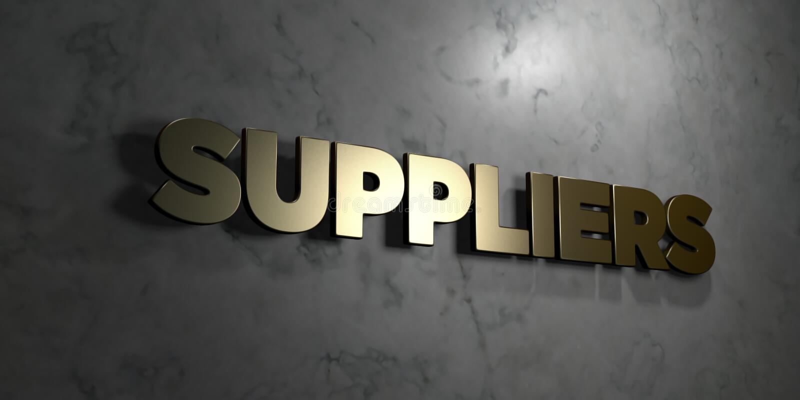 Os fornecedores - sinal do ouro montado na parede de mármore lustrosa - 3D renderam a ilustração conservada em estoque livre dos  ilustração stock