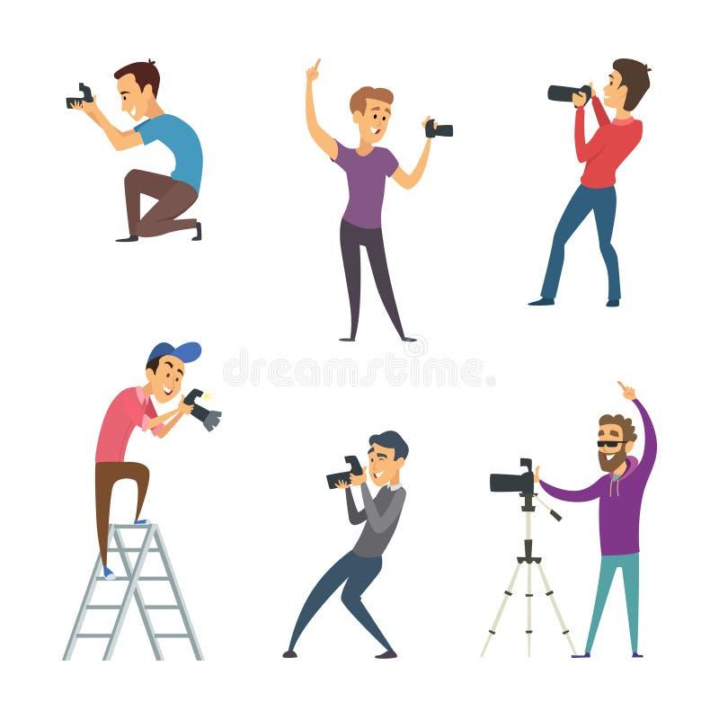 Os fotógrafo fazem fotos Grupo de isolado engraçado dos caráteres no branco ilustração stock