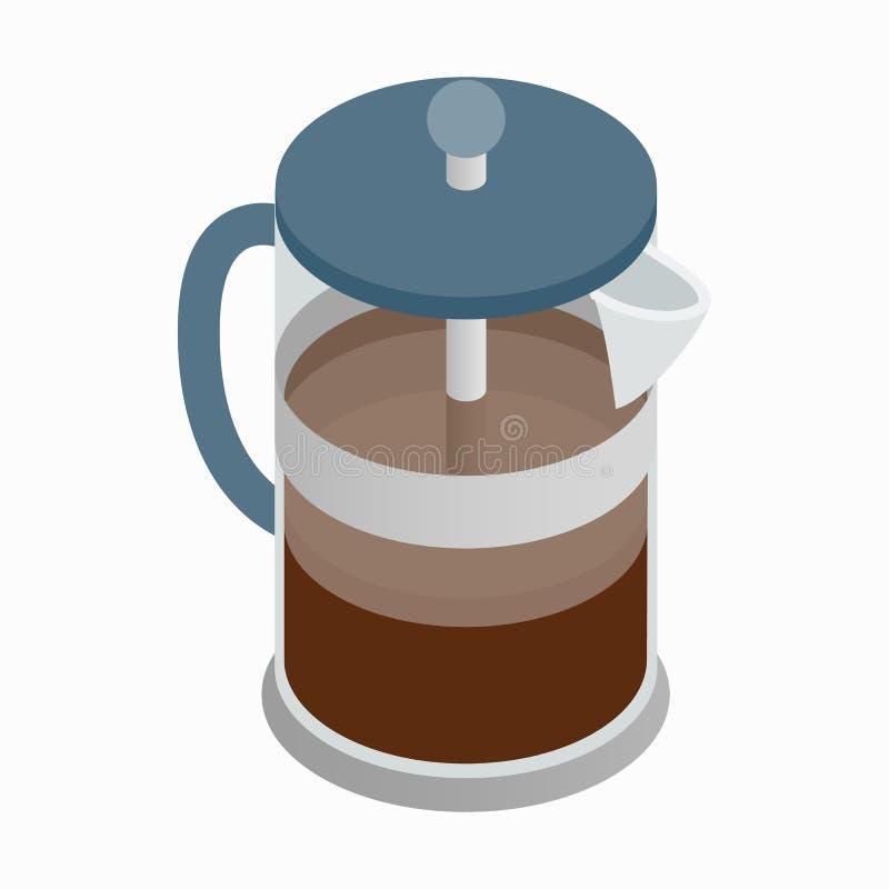 Os franceses pressionam o ícone do fabricante de café, estilo 3d isométrico ilustração stock