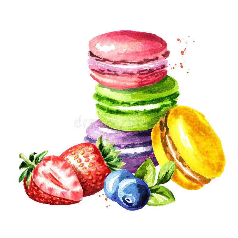 Os franceses tradicionais endurecem o macaron ou o bolinho de amêndoa, cookie de amêndoa colorida, com mirtilo e morango watercol ilustração royalty free