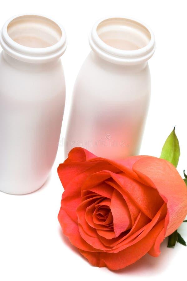 Os frascos com leite e levantaram-se fotos de stock