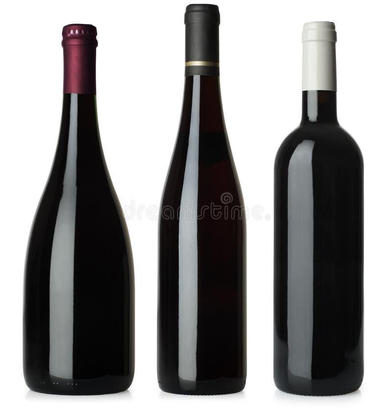 Os frascos de vinho vermelho não anulam nenhuma etiqueta foto de stock