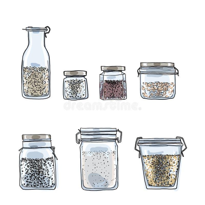 Os frascos, garrafas das especiarias entregam a ilustração tirada da arte ilustração do vetor