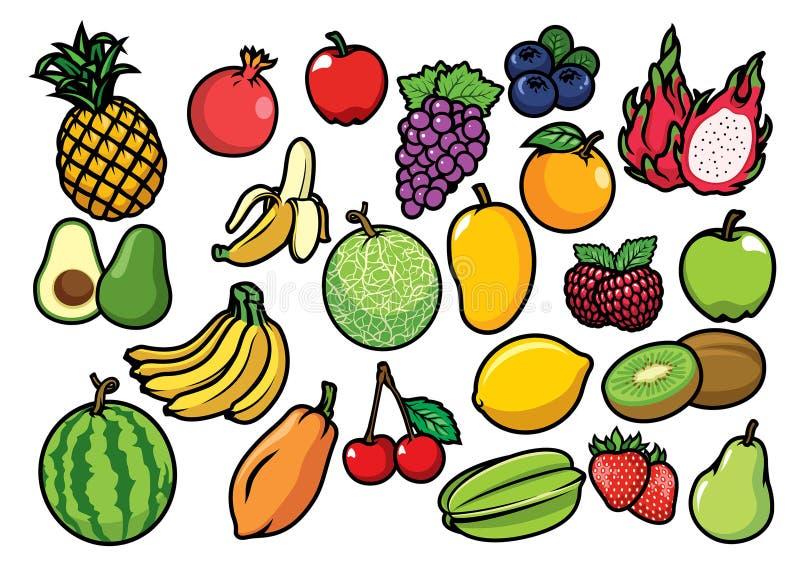 Os frutos ajustaram a coleção ilustração do vetor
