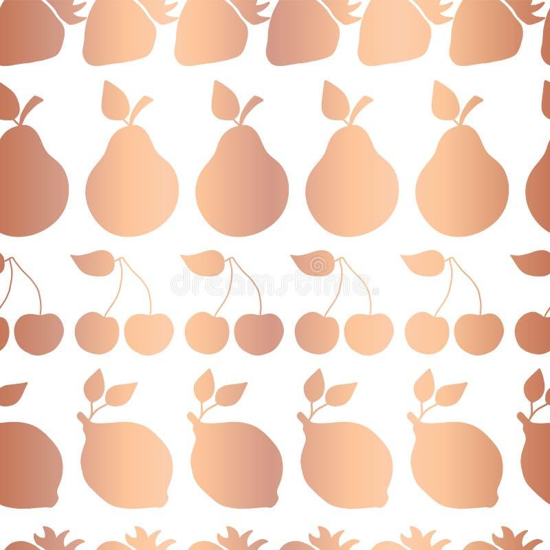 Os frutos da folha do cobre do ouro de Rosa vector a telha do teste padrão ilustração stock