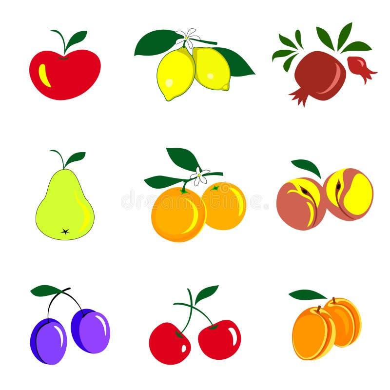 Os frutos e as bagas coloriram a coleção dos ícones Jogo das frutas ilustração do vetor