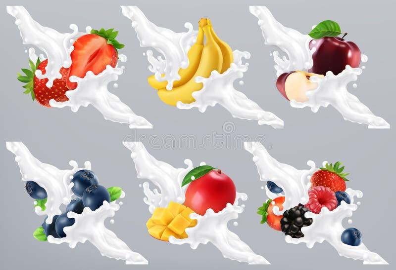 Os frutos e as bagas no leite espirram, iogurte Morango, banana, maçã, mirtilo, manga vetor 3d ilustração do vetor