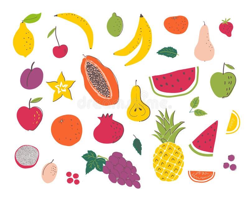 Os frutos entregam o grupo da ilustração da tração ilustração royalty free