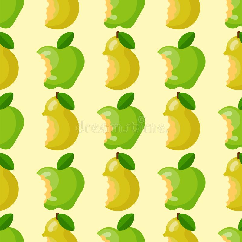 Os frutos mordidos do verde de matéria têxtil da ilustração do vetor do fundo da maçã cortam o teste padrão sem emenda ilustração royalty free