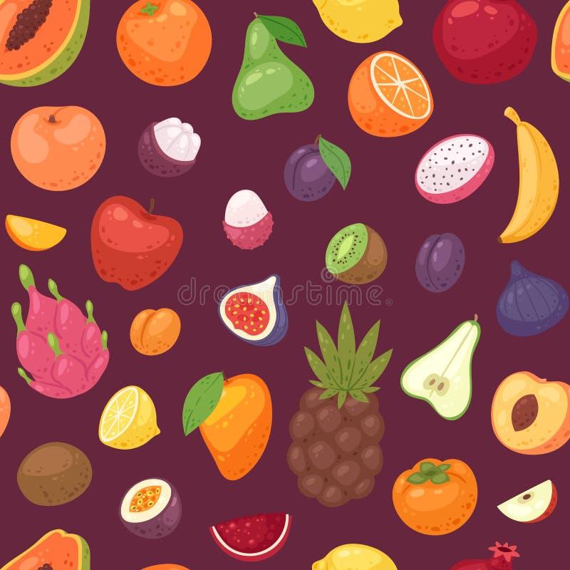 Os frutos vector a banana de maçã frutado e a papaia exótica com fatias frescas de dragonfruit tropical ou de laranja suculenta ilustração do vetor