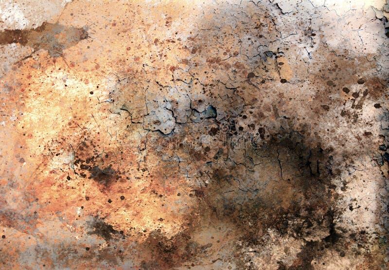 Os fundos abstratos da cor, a colagem de pintura com pontos, a estrutura da oxidação e o deserto crepitam ilustração royalty free