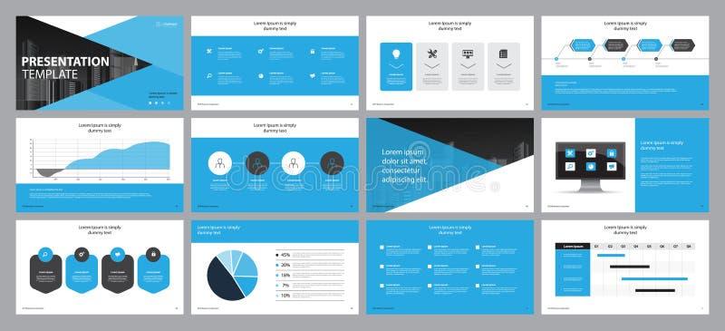 Os fundos azuis ajustados da apresentação do negócio projetam o molde e o projeto da disposição de página para o folheto, livro,  ilustração stock
