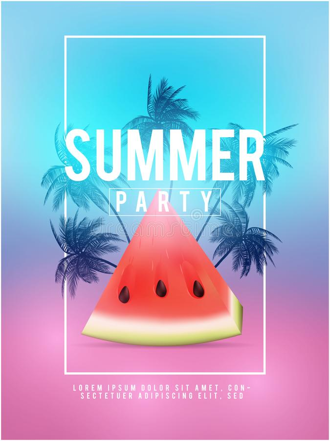 Os fundos do tumblr de Califórnia do verão ajustaram-se com palmas, céu e por do sol Cartão do convite do inseto do cartaz do car ilustração stock
