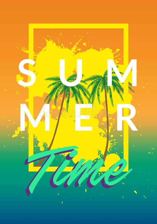 Os fundos do tumblr de Califórnia do verão ajustaram-se com palmas, céu e por do sol Cartão do convite do inseto do cartaz do car ilustração do vetor
